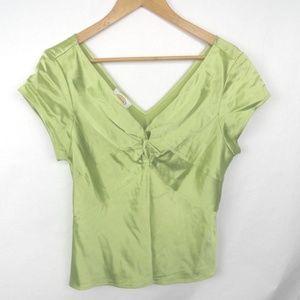 Talbots Pure Silk V neck V Back Top Green Size 12
